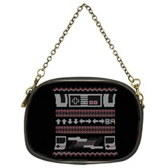 Old School Ugly Holiday Christmas Black Background Chain Purses (one Side)  by Onesevenart