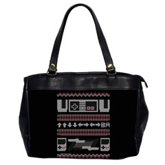 Old School Ugly Holiday Christmas Black Background Office Handbags (2 Sides)  by Onesevenart