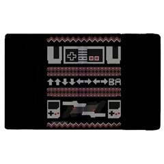 Old School Ugly Holiday Christmas Black Background Apple Ipad 2 Flip Case by Onesevenart