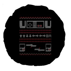 Old School Ugly Holiday Christmas Black Background Large 18  Premium Round Cushions by Onesevenart