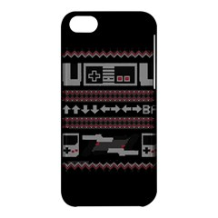Old School Ugly Holiday Christmas Black Background Apple Iphone 5c Hardshell Case by Onesevenart