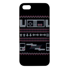 Old School Ugly Holiday Christmas Black Background Iphone 5s/ Se Premium Hardshell Case by Onesevenart