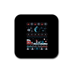That Snow Moon Star Wars  Ugly Holiday Christmas Black Background Rubber Square Coaster (4 Pack)  by Onesevenart