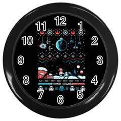 That Snow Moon Star Wars  Ugly Holiday Christmas Black Background Wall Clocks (black) by Onesevenart