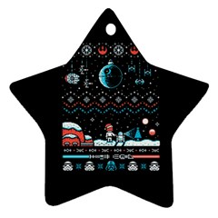 That Snow Moon Star Wars  Ugly Holiday Christmas Black Background Star Ornament (two Sides) by Onesevenart