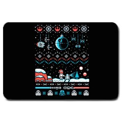 That Snow Moon Star Wars  Ugly Holiday Christmas Black Background Large Doormat  by Onesevenart