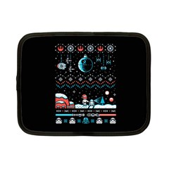 That Snow Moon Star Wars  Ugly Holiday Christmas Black Background Netbook Case (small)  by Onesevenart