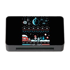 That Snow Moon Star Wars  Ugly Holiday Christmas Black Background Memory Card Reader With Cf by Onesevenart