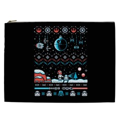 That Snow Moon Star Wars  Ugly Holiday Christmas Black Background Cosmetic Bag (xxl)  by Onesevenart