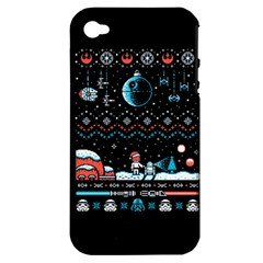 That Snow Moon Star Wars  Ugly Holiday Christmas Black Background Apple Iphone 4/4s Hardshell Case (pc+silicone) by Onesevenart