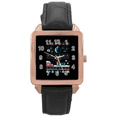 That Snow Moon Star Wars  Ugly Holiday Christmas Black Background Rose Gold Leather Watch  by Onesevenart