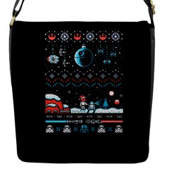 That Snow Moon Star Wars  Ugly Holiday Christmas Black Background Flap Messenger Bag (s) by Onesevenart