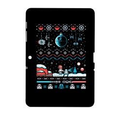 That Snow Moon Star Wars  Ugly Holiday Christmas Black Background Samsung Galaxy Tab 2 (10 1 ) P5100 Hardshell Case  by Onesevenart