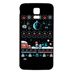 That Snow Moon Star Wars  Ugly Holiday Christmas Black Background Samsung Galaxy S5 Back Case (white) by Onesevenart