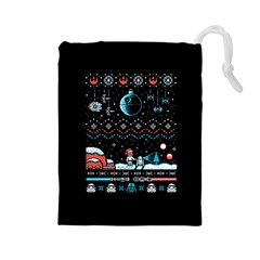 That Snow Moon Star Wars  Ugly Holiday Christmas Black Background Drawstring Pouches (large)  by Onesevenart