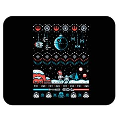 That Snow Moon Star Wars  Ugly Holiday Christmas Black Background Double Sided Flano Blanket (medium)  by Onesevenart