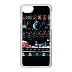 That Snow Moon Star Wars  Ugly Holiday Christmas Black Background Apple Iphone 7 Seamless Case (white) by Onesevenart