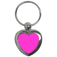 Neon Color   Light Brilliant Fuchsia Key Chains (heart)  by tarastyle