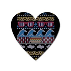 Ugly Summer Ugly Holiday Christmas Black Background Heart Magnet by Onesevenart