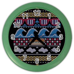 Ugly Summer Ugly Holiday Christmas Black Background Color Wall Clocks by Onesevenart