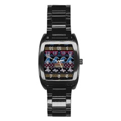 Ugly Summer Ugly Holiday Christmas Black Background Stainless Steel Barrel Watch by Onesevenart