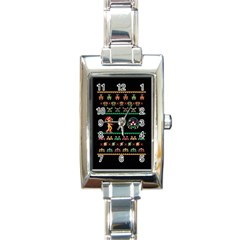 We Wish You A Metroid Christmas Ugly Holiday Christmas Black Background Rectangle Italian Charm Watch by Onesevenart