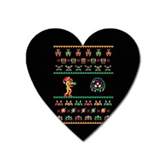 We Wish You A Metroid Christmas Ugly Holiday Christmas Black Background Heart Magnet by Onesevenart