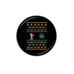 We Wish You A Metroid Christmas Ugly Holiday Christmas Black Background Hat Clip Ball Marker (4 Pack) by Onesevenart