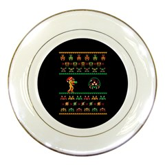 We Wish You A Metroid Christmas Ugly Holiday Christmas Black Background Porcelain Plates by Onesevenart