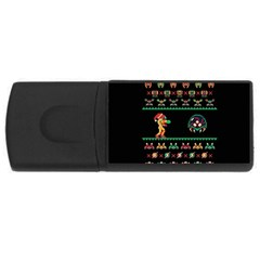 We Wish You A Metroid Christmas Ugly Holiday Christmas Black Background Usb Flash Drive Rectangular (4 Gb) by Onesevenart