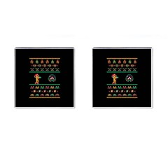 We Wish You A Metroid Christmas Ugly Holiday Christmas Black Background Cufflinks (square) by Onesevenart