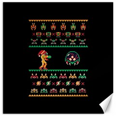 We Wish You A Metroid Christmas Ugly Holiday Christmas Black Background Canvas 16  X 16   by Onesevenart