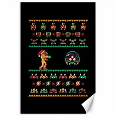 We Wish You A Metroid Christmas Ugly Holiday Christmas Black Background Canvas 24  X 36  by Onesevenart