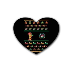 We Wish You A Metroid Christmas Ugly Holiday Christmas Black Background Rubber Coaster (heart)  by Onesevenart