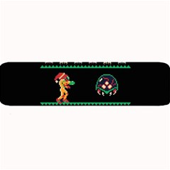 We Wish You A Metroid Christmas Ugly Holiday Christmas Black Background Large Bar Mats by Onesevenart