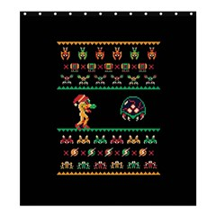 We Wish You A Metroid Christmas Ugly Holiday Christmas Black Background Shower Curtain 66  X 72  (large)  by Onesevenart