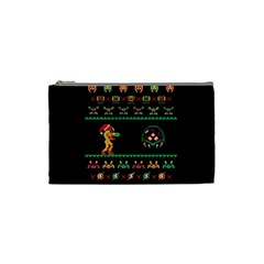 We Wish You A Metroid Christmas Ugly Holiday Christmas Black Background Cosmetic Bag (small)  by Onesevenart