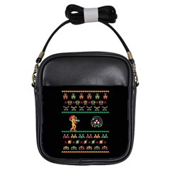 We Wish You A Metroid Christmas Ugly Holiday Christmas Black Background Girls Sling Bags by Onesevenart