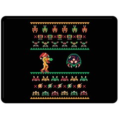 We Wish You A Metroid Christmas Ugly Holiday Christmas Black Background Fleece Blanket (large)  by Onesevenart