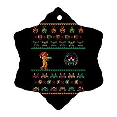 We Wish You A Metroid Christmas Ugly Holiday Christmas Black Background Ornament (snowflake) by Onesevenart
