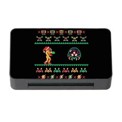 We Wish You A Metroid Christmas Ugly Holiday Christmas Black Background Memory Card Reader With Cf by Onesevenart