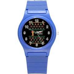 We Wish You A Metroid Christmas Ugly Holiday Christmas Black Background Round Plastic Sport Watch (s) by Onesevenart