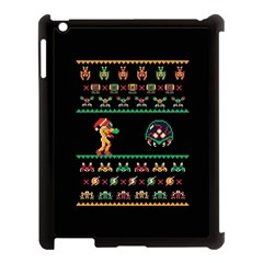 We Wish You A Metroid Christmas Ugly Holiday Christmas Black Background Apple Ipad 3/4 Case (black) by Onesevenart