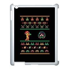 We Wish You A Metroid Christmas Ugly Holiday Christmas Black Background Apple Ipad 3/4 Case (white) by Onesevenart