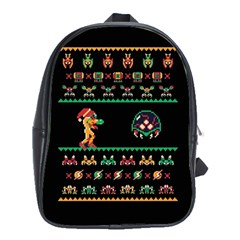 We Wish You A Metroid Christmas Ugly Holiday Christmas Black Background School Bags (xl)  by Onesevenart