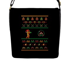 We Wish You A Metroid Christmas Ugly Holiday Christmas Black Background Flap Messenger Bag (l)  by Onesevenart
