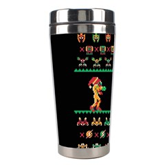 We Wish You A Metroid Christmas Ugly Holiday Christmas Black Background Stainless Steel Travel Tumblers by Onesevenart