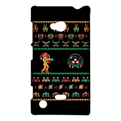 We Wish You A Metroid Christmas Ugly Holiday Christmas Black Background Nokia Lumia 720 by Onesevenart