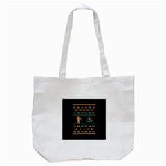 We Wish You A Metroid Christmas Ugly Holiday Christmas Black Background Tote Bag (white) by Onesevenart