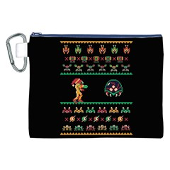 We Wish You A Metroid Christmas Ugly Holiday Christmas Black Background Canvas Cosmetic Bag (xxl) by Onesevenart